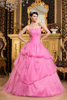 Beautiful Sweetheart Pink Organza Ball Gown Sweet 15 Dress With Short Sleeves Bolero
