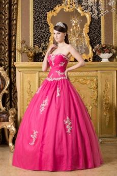 Dipped Neckline Ball Gown Hot Pink Tulle Sweet Fifteen Dress