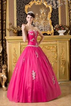 Dipped Neckline Ball Gown Hot Pink Tulle Sweet Fifteen Dress