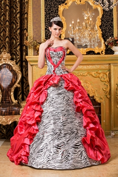 Zebra And Water Melon Sweet 15 Dress Multi Colored