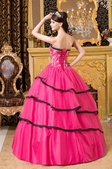 Lovely Sweetherat Black And Hot Pink Tulle Ball Gown Sweet 15 Dress