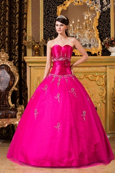 Classy Sweetheart Ball Gown Fuchsia Sweet 15 Dress Corset Back