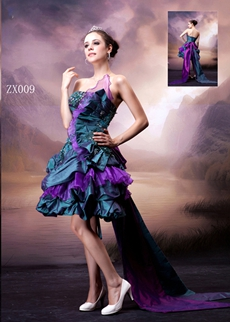 Strapless Taffeta Colorful Sweetheart Sixteen Dress With Sash