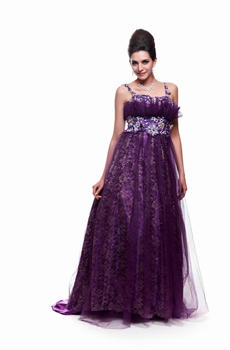 Mysterious Double Straps Purple Tulle Prom Dress