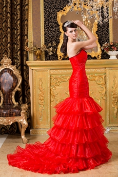 Gorgeous Strapless Red Organza Trumpet/Mermaid Quinceanera Dress With Black Appliques