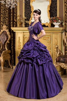 Strapless Ball Gown Taffeta Violet Sweet 15 Dress With Bolero