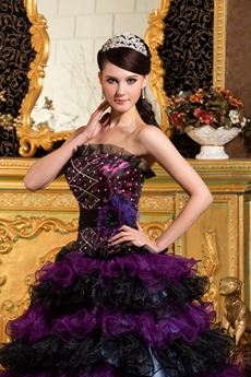 Gothic Purple And Black Organza Sweet 15 Dress With Multi Ruffled