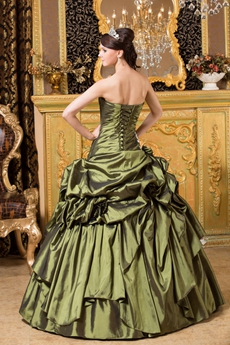 Dropped Waist Ball Gown Military Green Quinceanera Dress