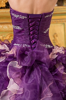 Adorable Dipped Neckline Purple And Pink Organza Ball Gown Quinceanera Dress