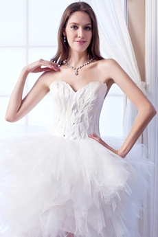 Modern Sweetheart Feathered Bodice High Low Celebrity Wedding Dress