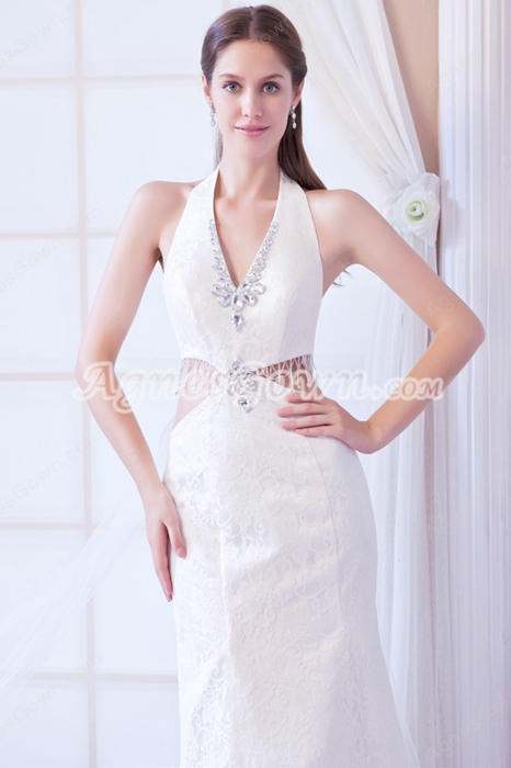 Top Halter A-line Lace Wedding Dress For Summer Open Back