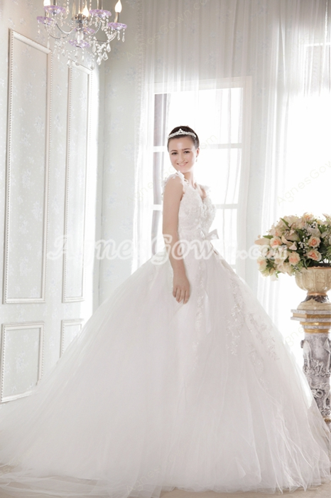 Fairytale Straps White Tulle Princess Wedding Dress With Appliques