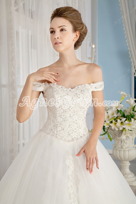Off The Shoulder White Tulle Ball Gown Wedding Dress Basque Waist