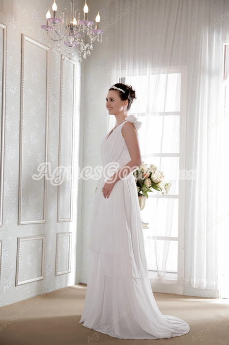 Delicate V-Neckline Column Full Length White Chiffon Beach Wedding Dress