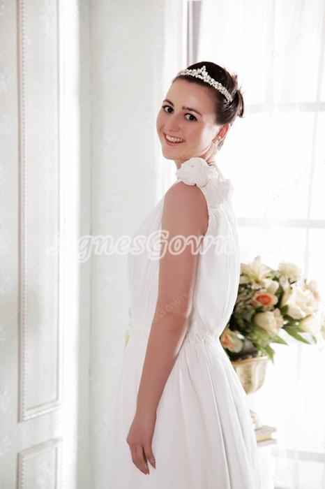 Delicate V-Neckline Column Full Length White Chiffon Beach Wedding Dress