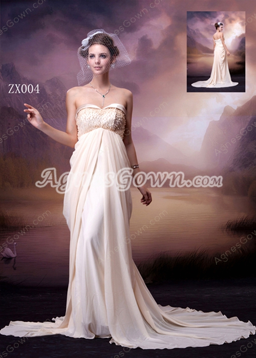 Grecian Sweetheart Empire Full Length Champagne Maternity Wedding Dress With Beads