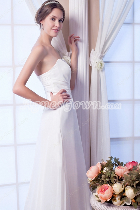 Noble Column Full Length Ivory Chiffon Summer Beach Wedding Gown