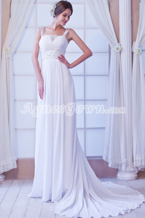 Delicate Chiffon A-line Summer Beach Wedding Gown Brush Train