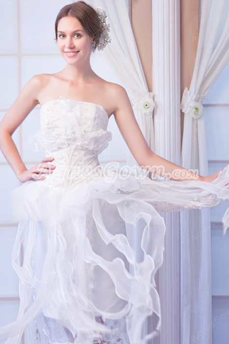 Chic Strapless High Low Organza Beach Wedding Dress With Pearls