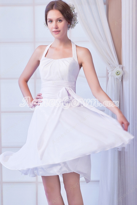 Cheap Halter A-line Knee Length Chiffon Summer Beach Wedding Dress