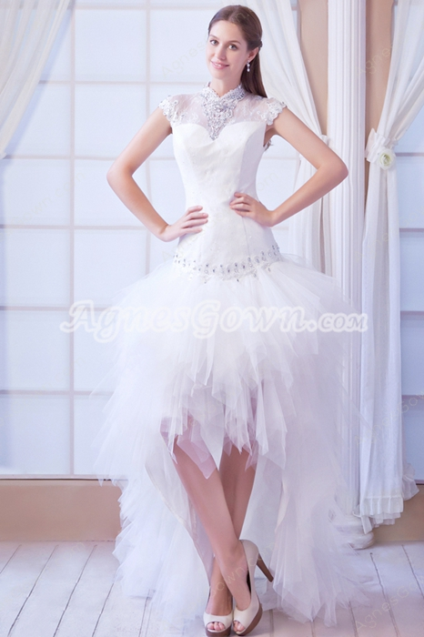 Keyhole Back Cap Sleeves High Low Hem Hawaii Beach Wedding Gown