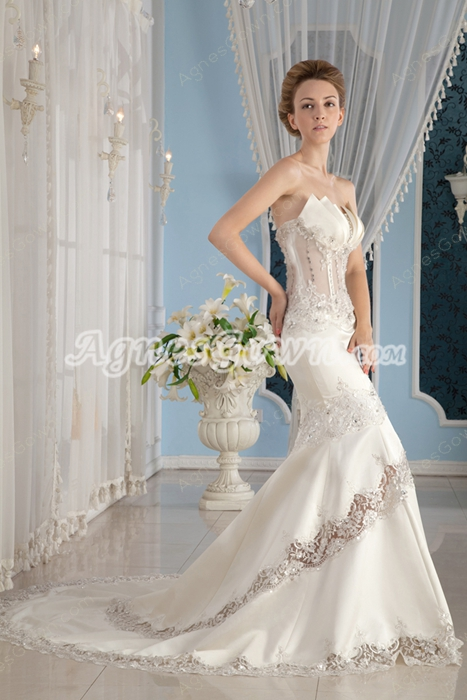 Strapless Ivory Satin Illusion Mermaid Wedding Dress