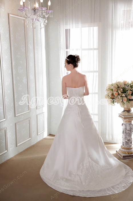 Lace Up Back A-line Satin Plus Size Wedding Dress With Embroidery
