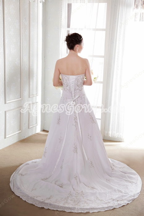 Luxury A-line Chiffon Embroidery Beads Wedding Dress Corset Back