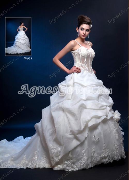 Spaghetti Straps White Taffeta Ball Gown Wedding Dress With Sheer Bodice
