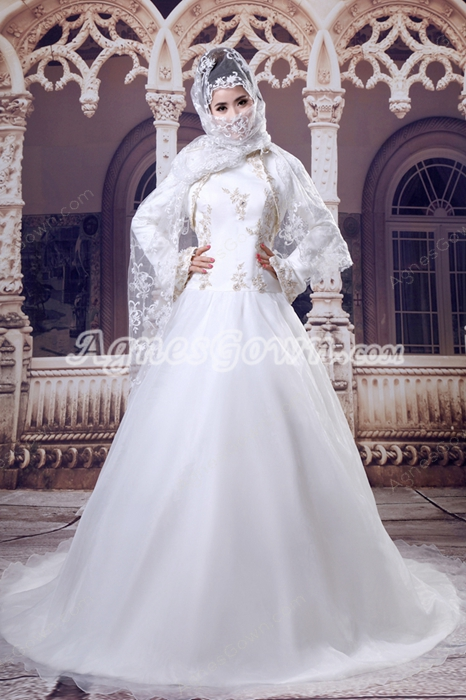 Exquisite Long Sleeves Organza Muslim Wedding Dress With Champagne Appliques