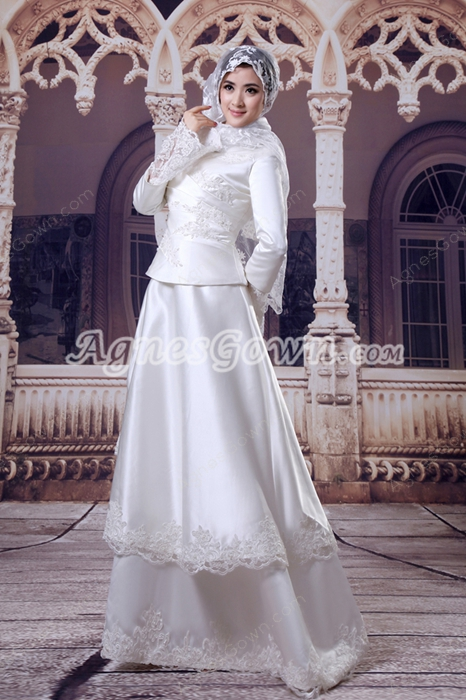 Full Sleeves Satin Muslim Wedding Dress With Lace Appliques
