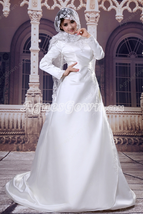 High Neckline Full Sleeves Satin Muslim Wedding Gown