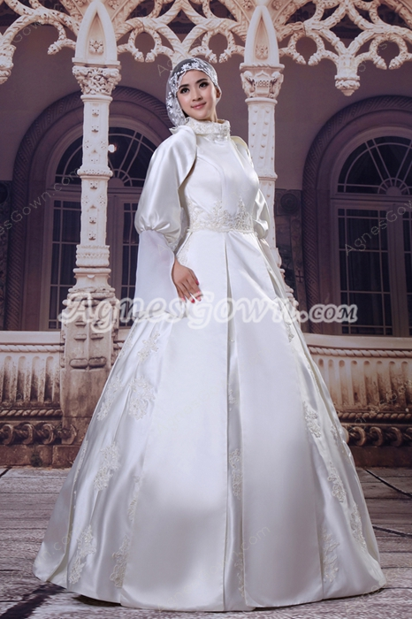 Detachable Long Sleeves High Collar Muslim Wedding Dress