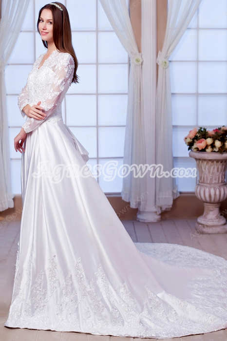 V-Neckline Long Sleeves A-line Winter Lace Wedding Dress