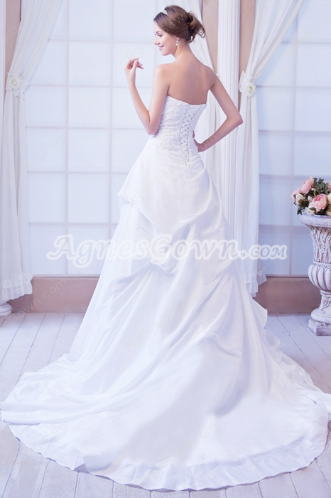 Magnificent Sweetheart Side Layered Wedding Dress Corset Back