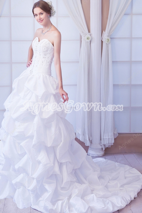 Dazzling Sweetheart Taffeta Embroidery Rosette Wedding Dress 2016