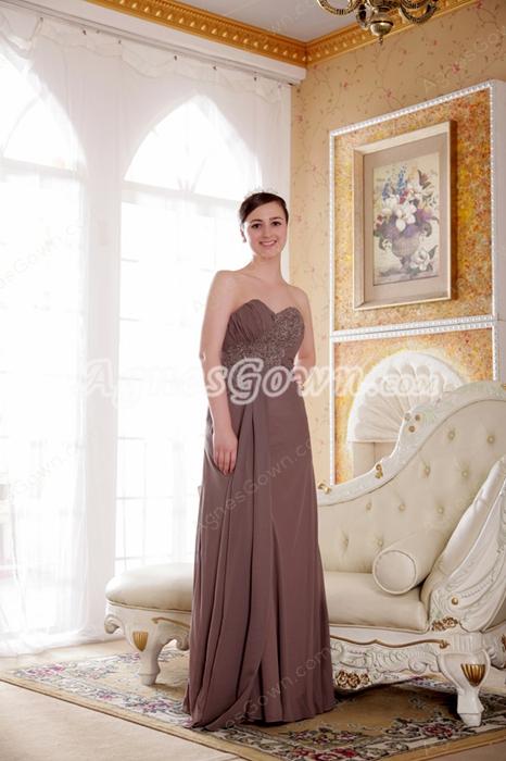Modest Sweetheart Column Long Brown Chiffon Bridesmaid Dress