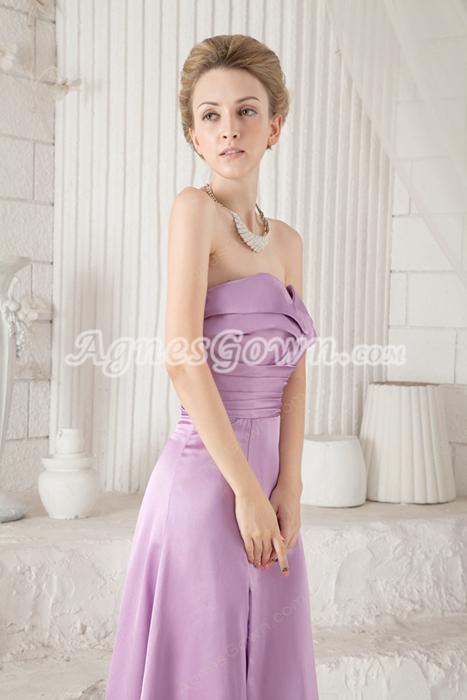 Charming Column Full Length Lilac Prom Dress Side Slit