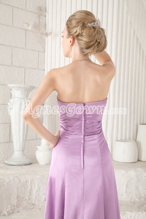 Charming Column Full Length Lilac Prom Dress Side Slit