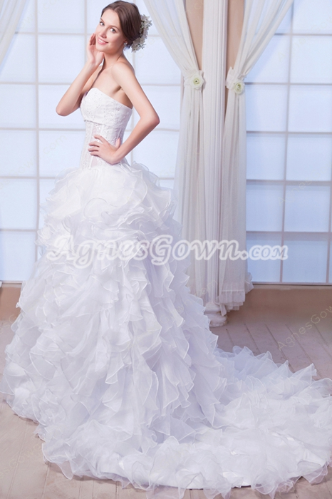 Corset Back Puffy Floor Length Ruffled Organza Wedding Dress 2016