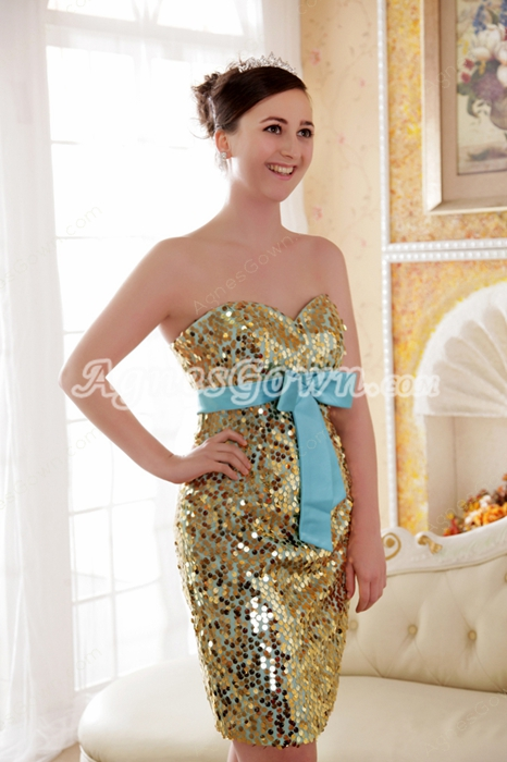 Fashionable Gold Sequined Mini Length Cocktail Dress With Blue Sash
