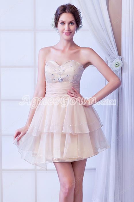 Cute Sweetheart Puffy Champagne Sweet 16 Dress