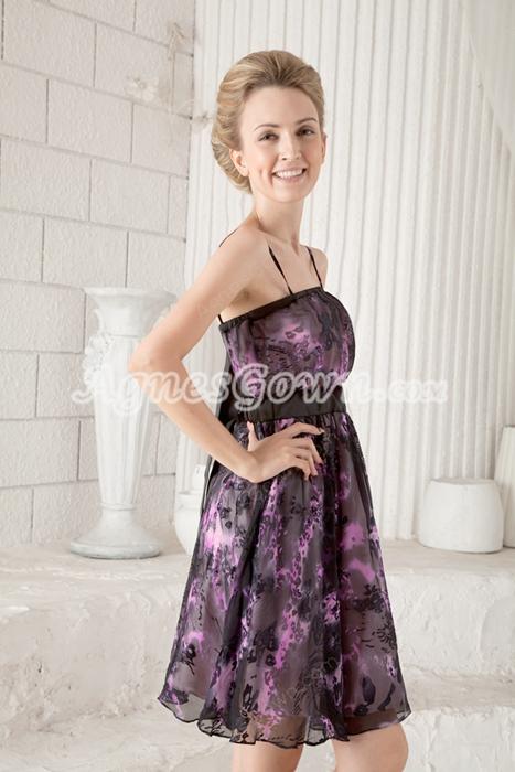 Open Back Spaghetti Straps A-line Mini Length Colorful Cocktail Dress
