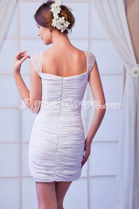 Sexy Straps Sheath Mini Length White Chiffon Cocktail Dress