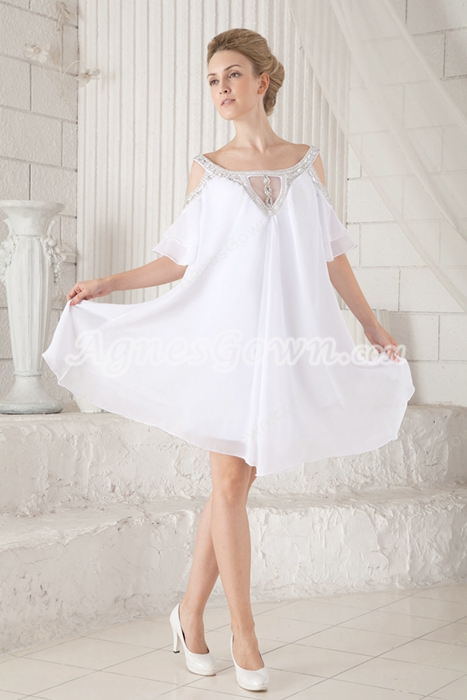Off The Shoulder Emmpire Mini Length Informal Maternity Wedding Dress For Baby Shower