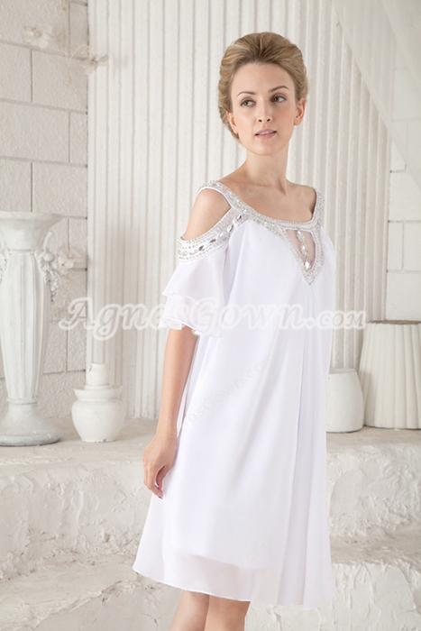 Off The Shoulder Emmpire Mini Length Informal Maternity Wedding Dress For Baby Shower
