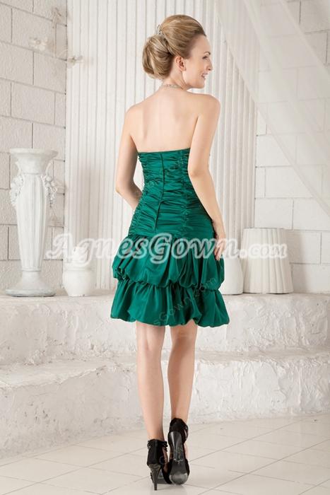 A-line Mini Length Hunter Green Wedding Guest Dress