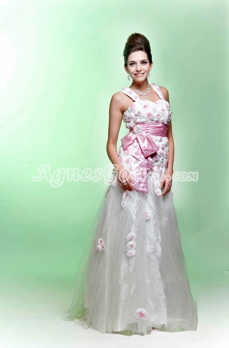 Straps Puffy Floor Length White Tulle Princess Quinceanera Dress With 3d Flowers