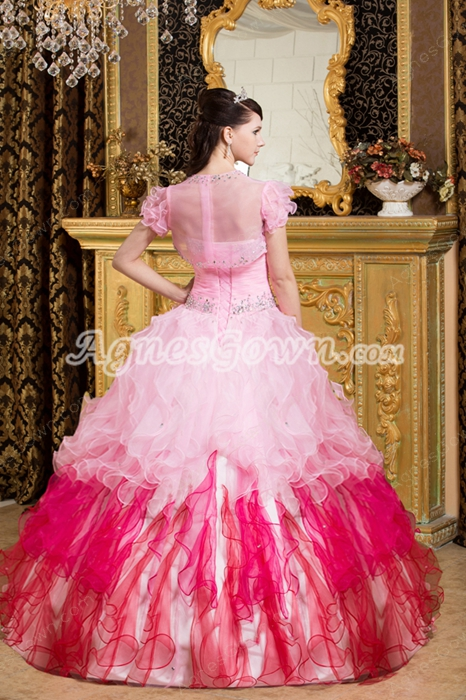 Lovely Sweetheart Colorful Pink And Fuchsia Organza Rainbow Quince Dress