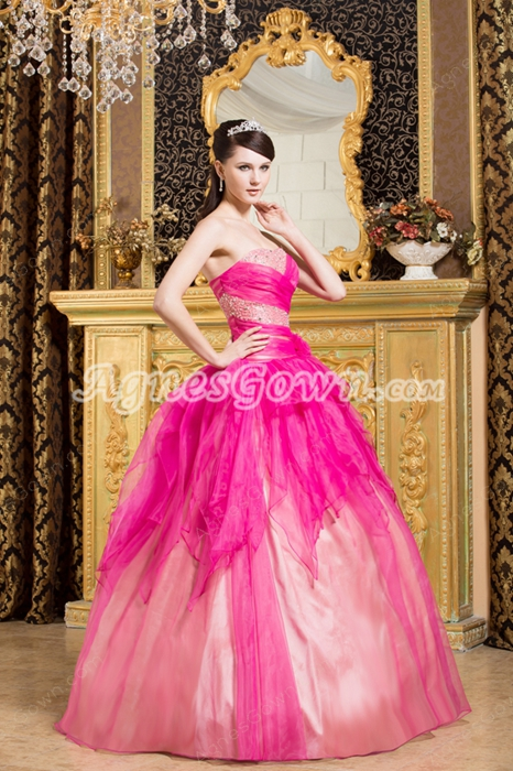 Attractive Fuchsia And Pink Rainbow Sweet 15 Dress